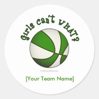 Basketball - White/Green Round Sticker