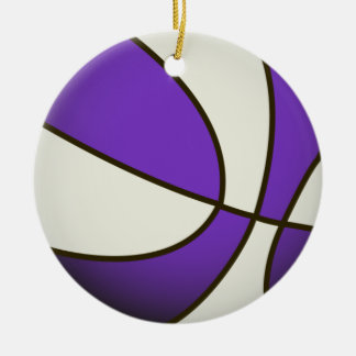 Basketball - White/Purple Christmas Ornament