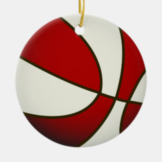 Basketball - White/Red Christmas Ornament