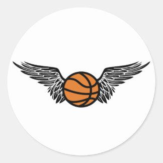 basketball. winged. round sticker