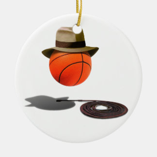 Basketball With Fedora and Whip Round Ceramic Decoration