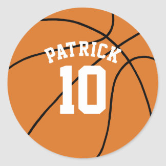 Basketball with Name and Team Number Classic Round Sticker