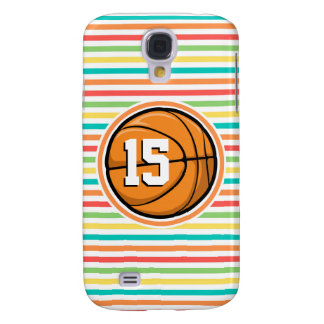 Basketball with Number; Bright Rainbow Stripes Samsung Galaxy S4 Cases