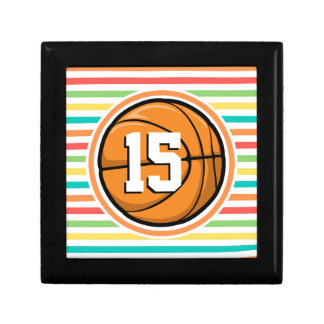 Basketball with Number Bright Rainbow Stripes Jewelry Box