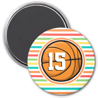 Basketball with Number Bright Rainbow Stripes Fridge Magnet