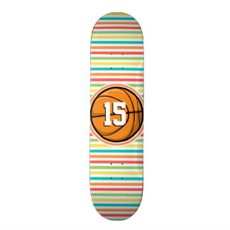 Basketball with Number Bright Rainbow Stripes Skate Board Decks