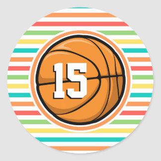 Basketball with Number Bright Rainbow Stripes Round Stickers