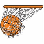 basketball woosh ball in net vector illustration