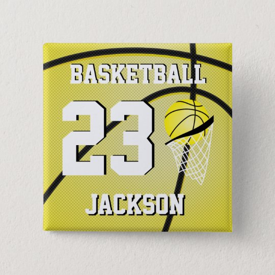 Basketball Yellow and White | Personalise 15 Cm Square Badge