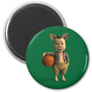 Basketballer Piglet 6 Cm Round Magnet