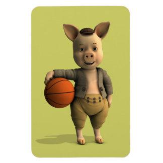 Basketballer Piglet Rectangle Magnet