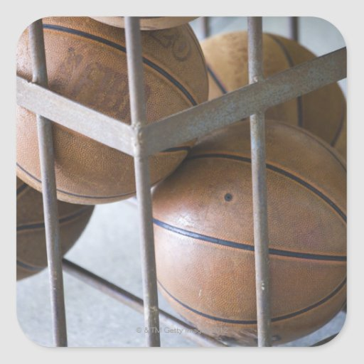 Basketballs in a basket square stickers