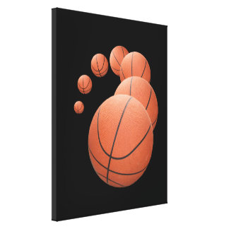 Basketballs in the Air Gallery Wrap Canvas