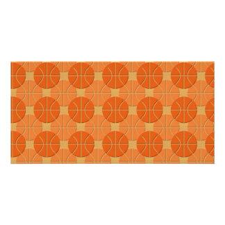 Basketballs pattern custom photo card