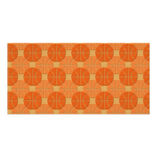 Basketballs pattern photo cards