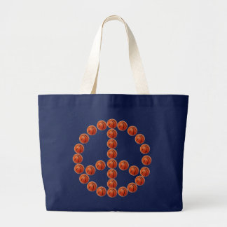 Basketballs Peace Sign Large Tote Bag