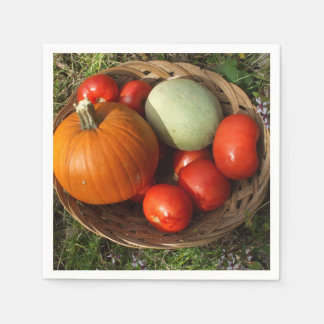 Basketful of Fruits and Vegetables-Thanksgiving Disposable Serviette