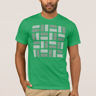 Basketweave geometric t-shirt in green and gray