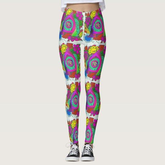 Basking colourful rainbow floral colours design leggings
