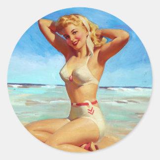Basking on the Beach Pin Up Round Sticker