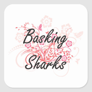 Basking Sharks with flowers background Square Sticker
