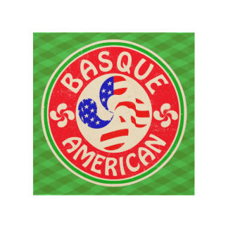 Basque American Lauburu Cross Wood Print