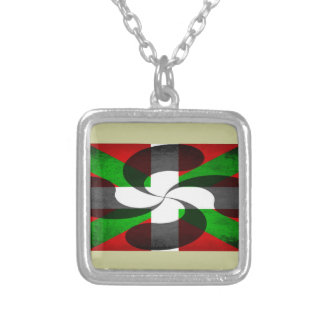 Basque Flag and Cross Silver Plated Necklace