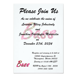 "Bass bougie flat text 5"" x 7"" invitation card"