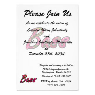 Bass bougie outline  flat text custom invite