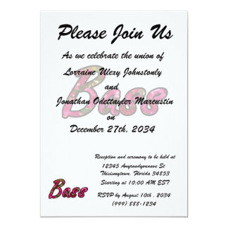 "Bass bougie outline  flat text 5"" x 7"" invitation card"