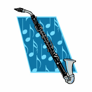 Bass Clarinet with Blue Background and Music Notes Standing Photo Sculpture