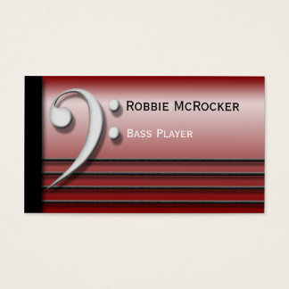 Bass Clef and Strings Red Business Cards