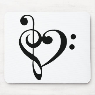 Bass Clef and Treble Clef Heart Mouse Pad