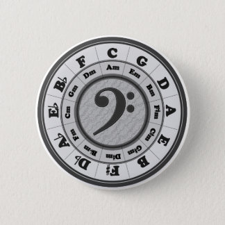 Bass Clef Circle of Fifths 6 Cm Round Badge