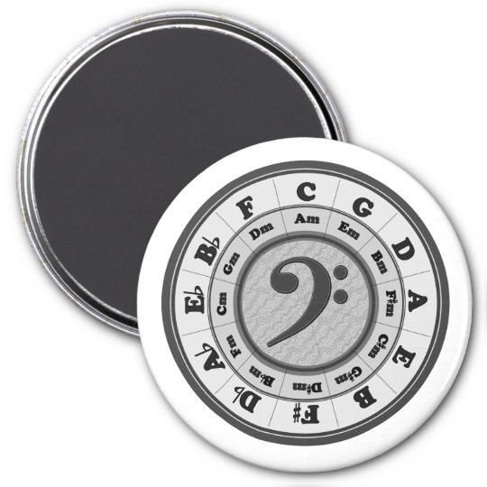 Bass Clef Circle of Fifths Large Round Magnet