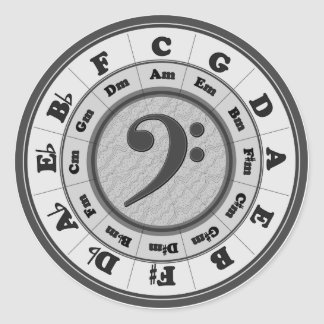 Bass Clef Circle of Fifths Round Sticker