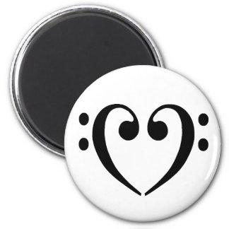 Bass Clef Heart 6 Cm Round Magnet