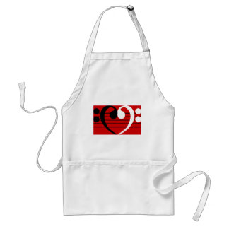 Bass Clef Heart Adult Apron
