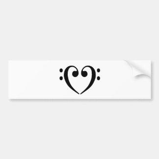 Bass Clef Heart Bumper Sticker