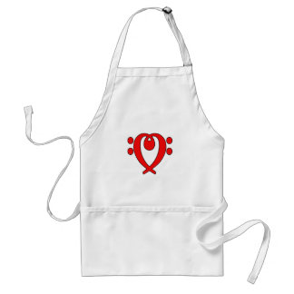 bass clef heart red aprons