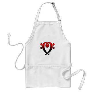 Bass clef heart red to black adult apron