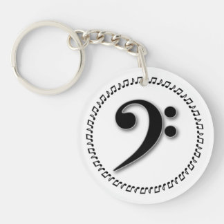 Bass Clef Music Note Design Acrylic Key Chains