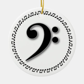 Bass Clef Music Note Design Round Ceramic Decoration