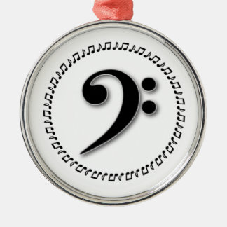 Bass Clef Music Note Design Silver-Colored Round Decoration