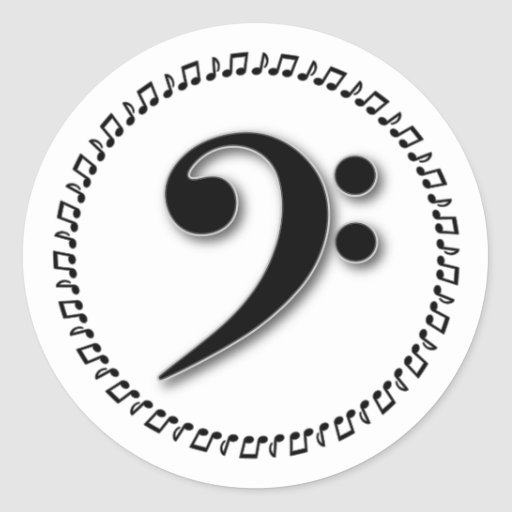 Bass Clef Music Note Design Round Stickers