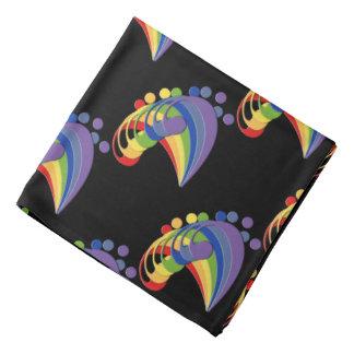 Bass Clef Rainbow Fan Bandana