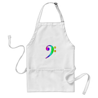 Bass Clef Rainbow Gradient Outline Aprons