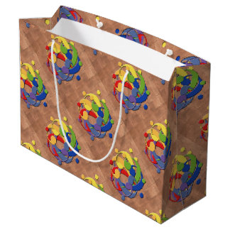 Bass Clef Rainbow Puzzle Ball on Copper Shingles Large Gift Bag