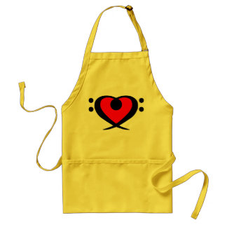 Bass Clef Red Heart Apron