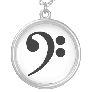 Bass Clef Silver Plated Necklace